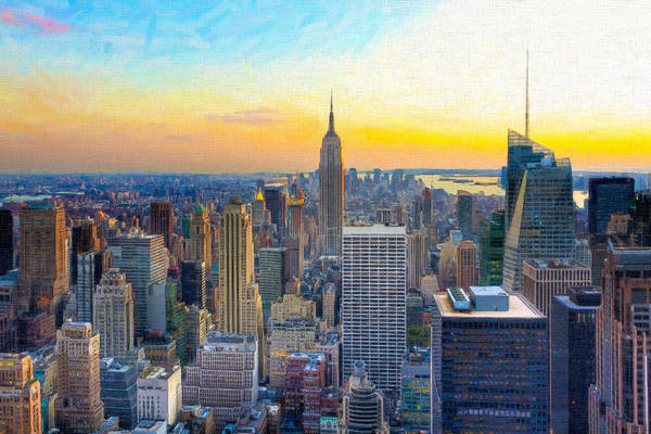 New York Poster featuring the photograph Sunset Over New York City by Mark E Tisdale