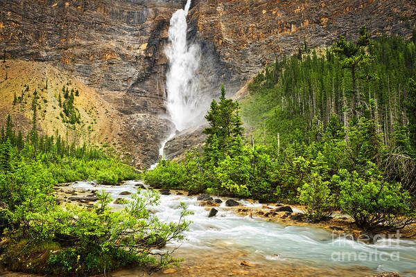 Takakkaw Falls Poster featuring the photograph Takakkaw Falls Waterfall In Yoho National Park Canada by Elena Elisseeva