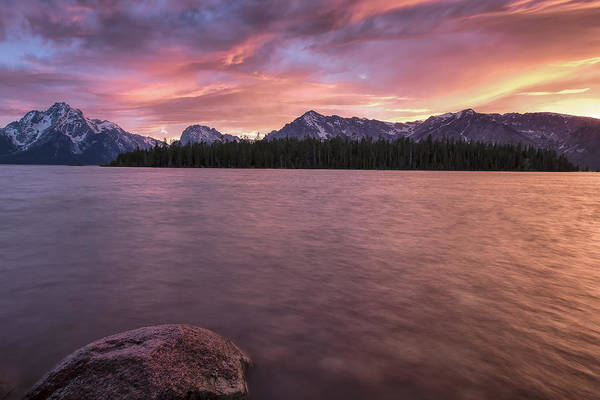 Horizontal Poster featuring the photograph Teton Firesky by Jon Glaser
