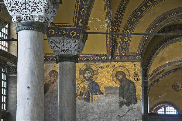 Turkey Poster featuring the photograph The Deesis Mosaic At Hagia Sophia by Ayhan Altun