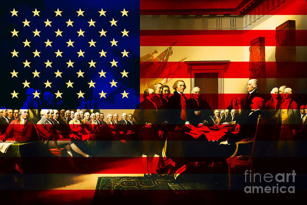 Usa Poster featuring the photograph The Signing Of The United States Declaration Of Independence And Old Glory 20131220 by Wingsdomain Art and Photography