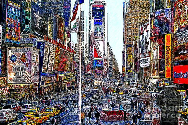 Time Square Poster featuring the photograph Time Square New York 20130503v5 by Wingsdomain Art and Photography