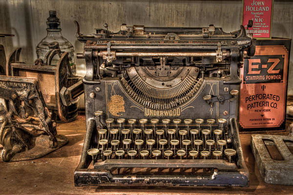 Main Poster featuring the photograph Underwood Typewriter Number 5 by Debra and Dave Vanderlaan