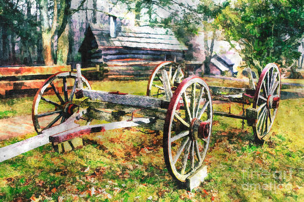 North Carolina Poster featuring the painting Vintage Wagon On Blue Ridge Parkway II by Dan Carmichael