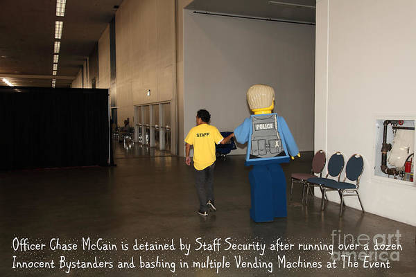 Lego Poster featuring the photograph Weird Police Blotter Officer Chase Mccain Is Detained By Staff Security At The Event 5d25200 by Wingsdomain Art and Photography