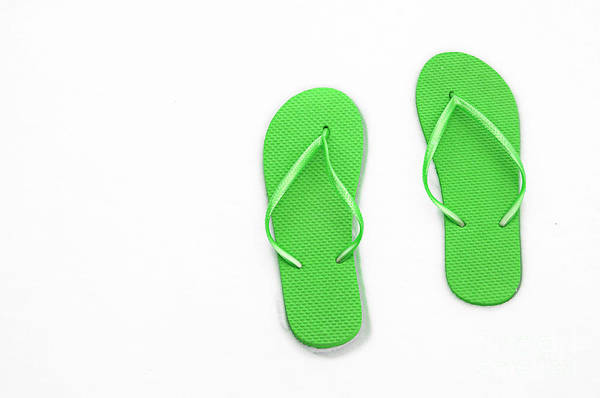 Andee Design Flip Flops Poster featuring the photograph Where On Earth Is Spring - My Green Flip Flops Are Waiting by Andee Design