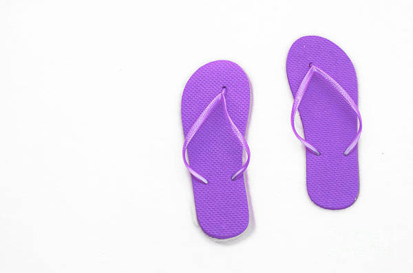 Andee Design Flip Flops Poster featuring the photograph Where On Earth Is Spring - My Purple Flip Flops Are Waiting by Andee Design