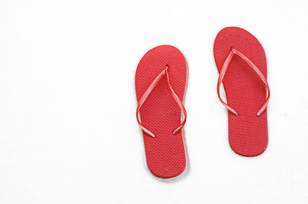 Andee Design Flip Flops Poster featuring the photograph Where On Earth Is Spring - My Red Flip Flops Are Waiting by Andee Design