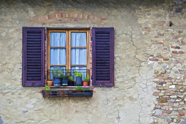 Brick Poster featuring the photograph Window With Potted Plants Of Rural Tuscany by David Letts
