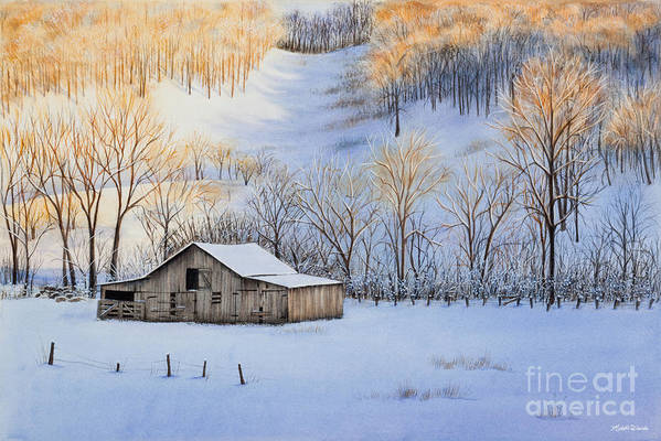 Sunset Poster featuring the painting Winter Sunset by Michelle Wiarda