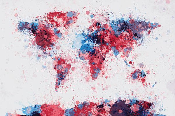 Map Of The World Poster featuring the digital art World Map Paint Splashes by Michael Tompsett