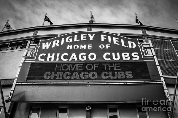 America Poster featuring the photograph Wrigley Field Sign In Black And White by Paul Velgos
