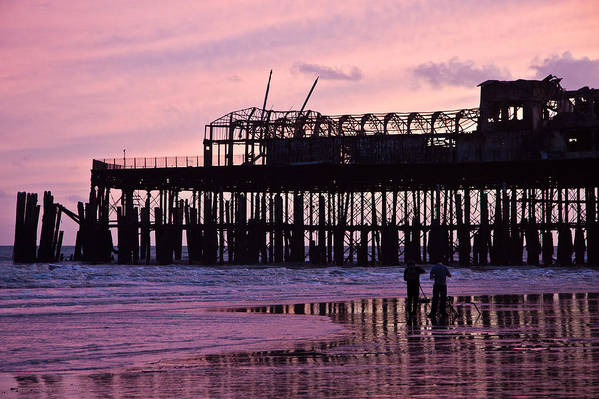 Hastings Pier Poster featuring the photograph Hastings Pier After The Fire by Dawn OConnor