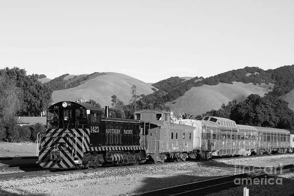 Black And White Poster featuring the photograph Historic Niles Trains In California . Southern Pacific Locomotive And Sante Fe Caboose.7d10819.bw by Wingsdomain Art and Photography