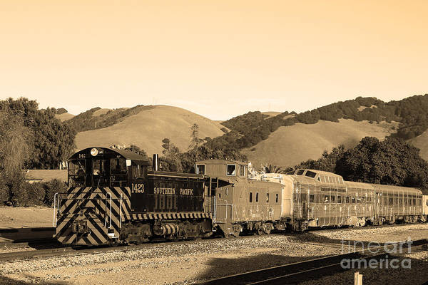 Black And White Poster featuring the photograph Historic Niles Trains In California.southern Pacific Locomotive And Sante Fe Caboose.7d10819.sepia by Wingsdomain Art and Photography