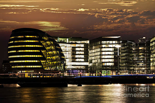 London Poster featuring the photograph London City Hall At Night by Elena Elisseeva