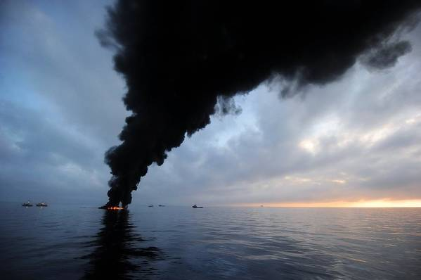 North America Poster featuring the photograph Oil Spill Burning, Usa by U.s. Coast Guard