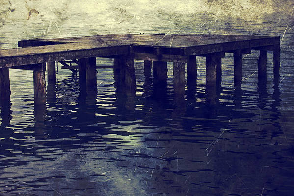 Bridge Poster featuring the photograph Old Wooden Pier With Stairs Into The Lake by Joana Kruse