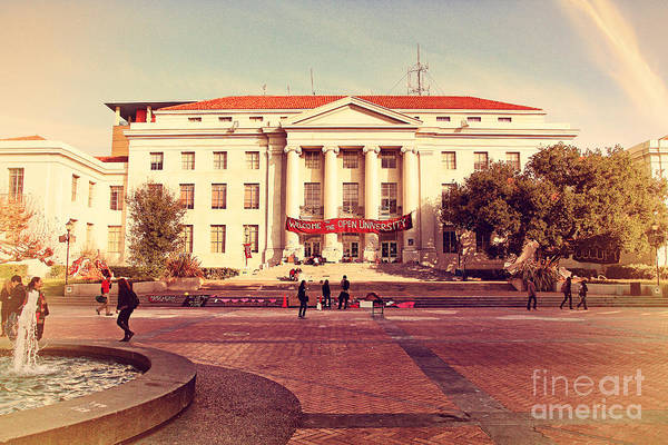 Retro Poster featuring the photograph Uc Berkeley . Sproul Hall . Sproul Plaza . Occupy Uc Berkeley . 7d9994 by Wingsdomain Art and Photography