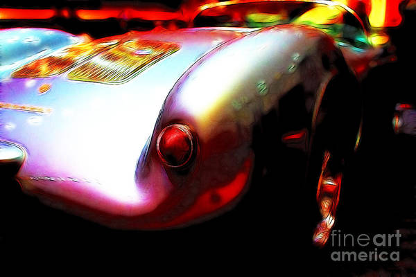 Transportation Poster featuring the photograph 1955 Porsche 550 Rs Spyder . Color Sketch Style by Wingsdomain Art and Photography