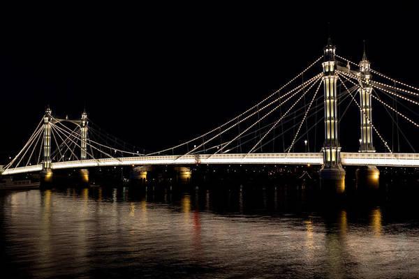 Albert Bridge Poster featuring the photograph The Albert Bridge London by David Pyatt