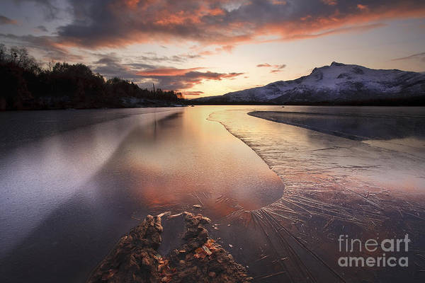 Ice Poster featuring the photograph A Frozen Straumen Lake On Tjeldoya by Arild Heitmann