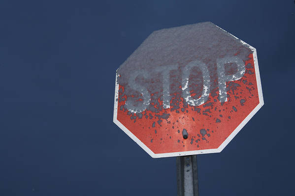 Stop Poster featuring the photograph A Stop Sign Covered In Snow by John Burcham