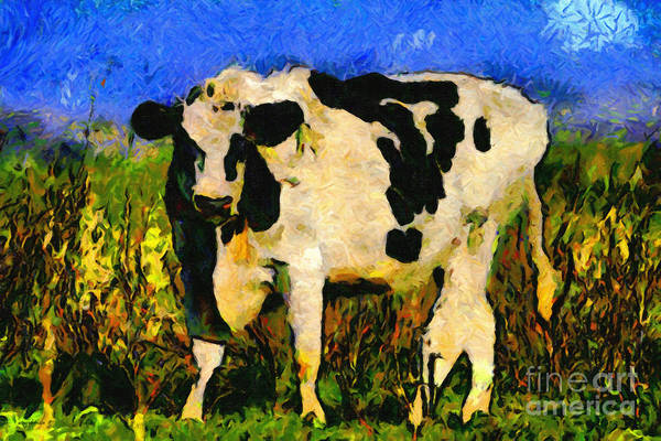 Cow Poster featuring the photograph Big Bull 2 . 7d12437 by Wingsdomain Art and Photography
