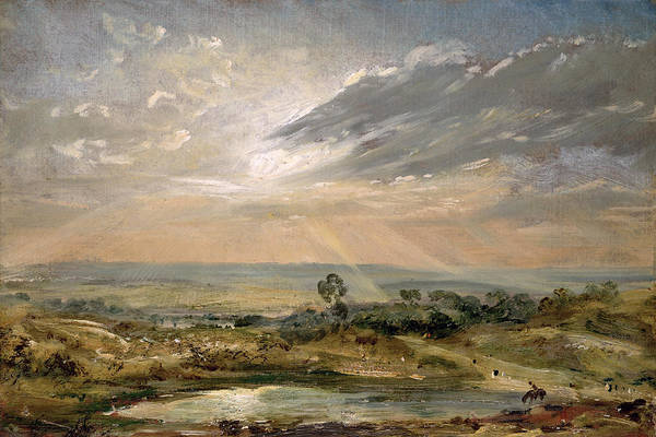 Sky; Landscape; Sunrise; Sunset; Dramatic; Romantic; Romanticism Poster featuring the painting Branch Hill Pond Hampstead by John Constable
