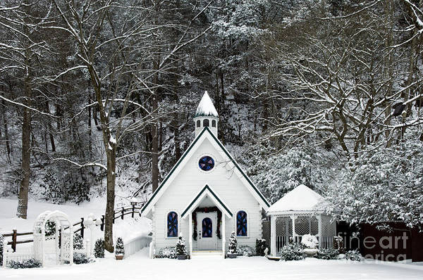 Wedding Poster featuring the photograph Chapel In The Snow - D007592 by Daniel Dempster