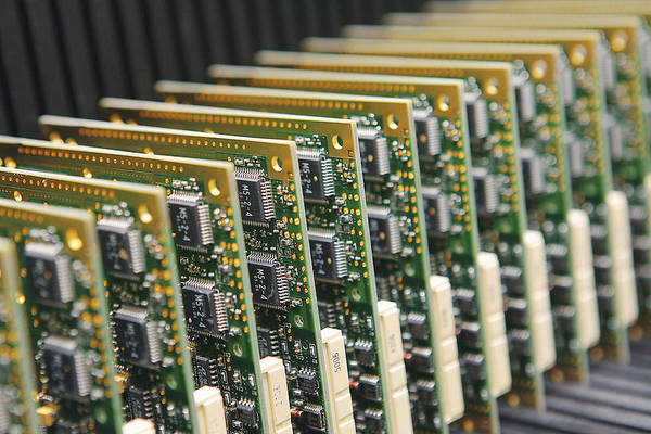 Electronic Circuit Poster featuring the photograph Circuit Board Production by Ria Novosti