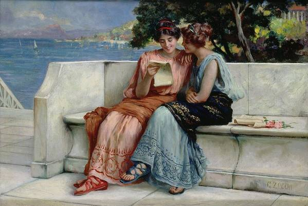 Female; Friends; Sharing; Secret; Letter; Confiding; Classical Costume; Coast; C19th; C20th; Mediterranean Landscape; Friendship; Laughing Poster featuring the painting Confidences by Guglielmo Zocchi