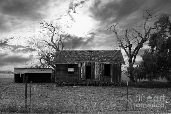 Black And White Poster featuring the photograph Dilapidated Old Farm House . 7d10341 . Black And White by Wingsdomain Art and Photography