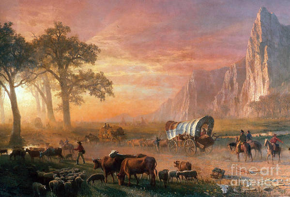 Painting Poster featuring the photograph Emigrants Crossing The Plains by Photo Researchers