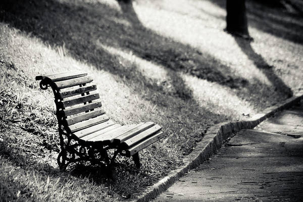 Horizontal Poster featuring the photograph Empty Park Bench On Edge by (c) Conrado Tramontini