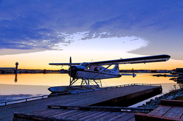 Abstract Poster featuring the photograph Evening Light On A Dehavilland Beaver- Abstract by Tim Grams