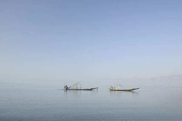 2 Persons Poster featuring the photograph Fishing Boats, Inle Lake, Myanmar Burma by Huy Lam