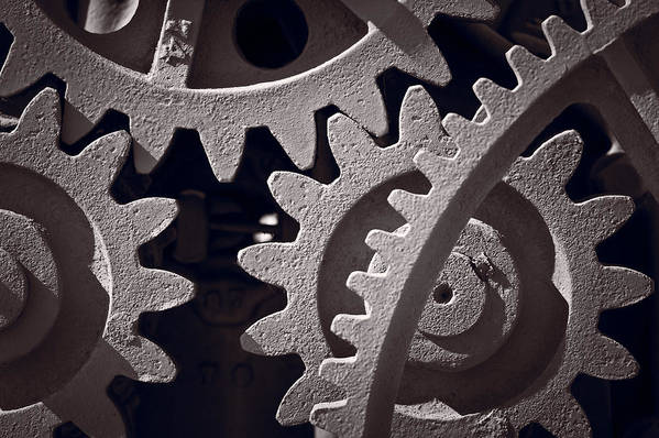 Gear Poster featuring the photograph Gears Number 1 by Steve Gadomski