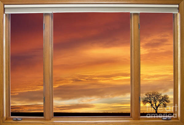 Window Poster featuring the photograph Golden Country Sunrise Window View by James BO Insogna