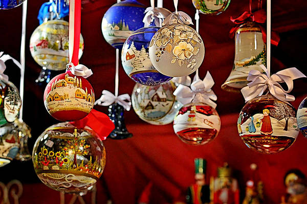 Holidays Poster featuring the photograph Handcrafted Mouth Blown Christmas Glass Balls by Christine Till