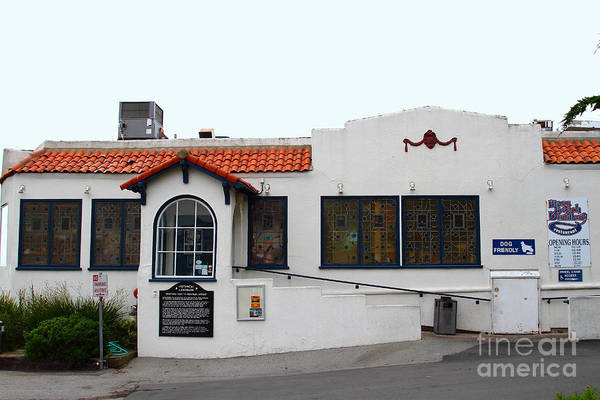The Moss Beach Distillery Poster featuring the photograph Historical Moss Beach Distillery At Half Moon Bay . 7d8172 by Wingsdomain Art and Photography
