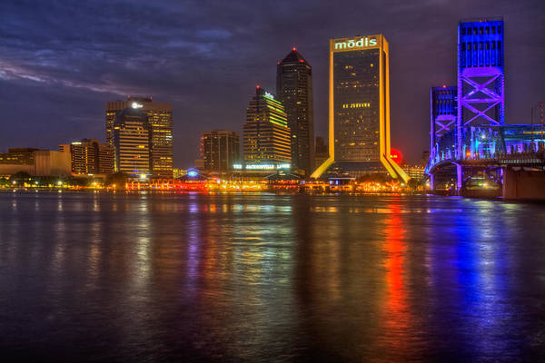Clouds Poster featuring the photograph Jacksonville At Night by Debra and Dave Vanderlaan