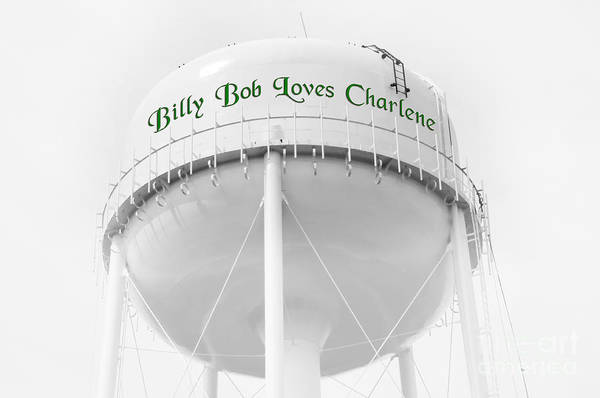 Water Tower. Billie Bob Loves Charlene Poster featuring the photograph John Deere Green by Andee Design