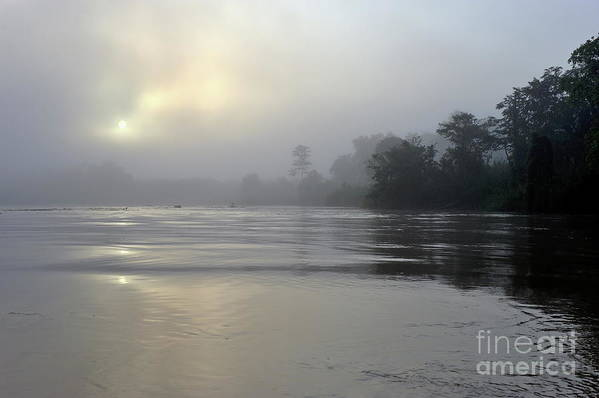 Mystery Poster featuring the photograph Kinabatangan River At Sunrise by Sami Sarkis