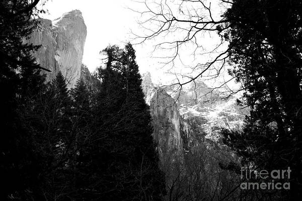 Black And White Poster featuring the photograph Mountains Of Yosemite . 7d6213 . Black And White by Wingsdomain Art and Photography