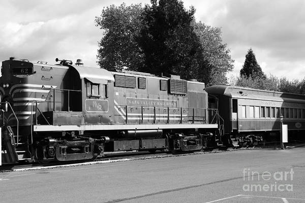 Black And White Poster featuring the photograph Napa Valley Railroad Wine Train Locomotive In Napa California Wine Country . Black And White . 7d899 by Wingsdomain Art and Photography