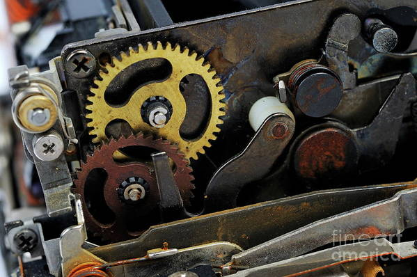 Gear Poster featuring the photograph Old Gears Mechanism by Sami Sarkis