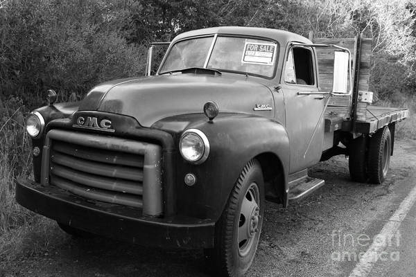 Black And White Poster featuring the photograph Old Nostalgic American Gmc Flatbed Truck . 7d9821 . Black And White by Wingsdomain Art and Photography