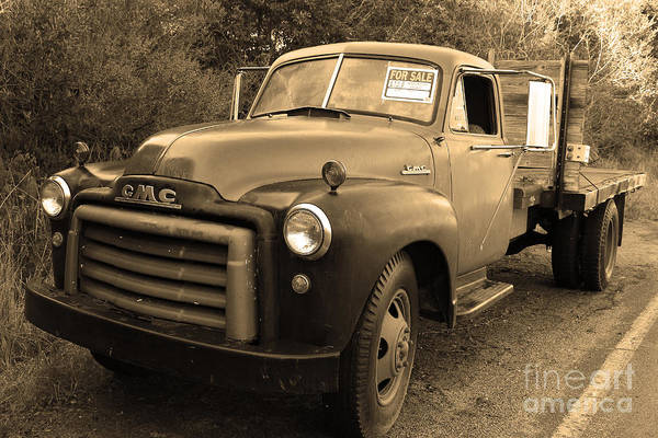 Black And White Poster featuring the photograph Old Nostalgic American Gmc Flatbed Truck . 7d9821 . Sepia by Wingsdomain Art and Photography