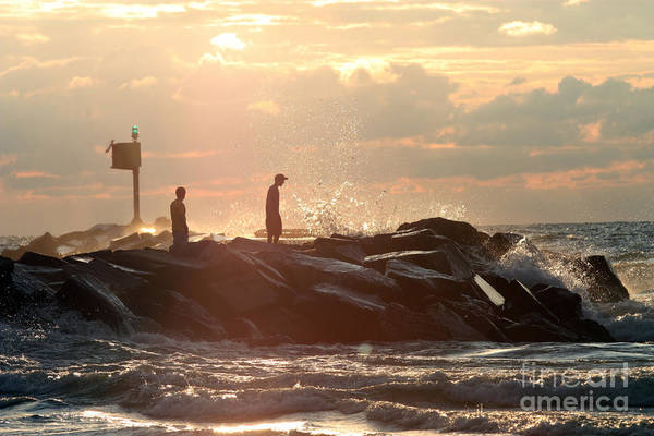 Horizontal Poster featuring the photograph People Walking On New Buffalo Michigan Breakwater by Christopher Purcell